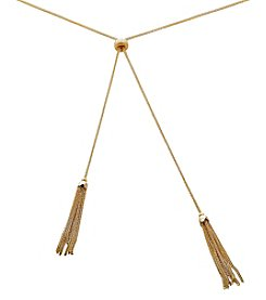 Double Tassel Necklace In 14K Yellow Gold