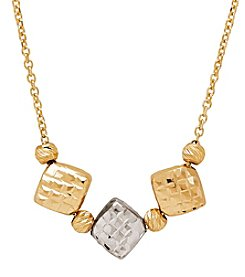 Triple Diamond Shaped Necklace In 14K Yellow Gold