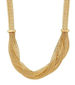 Braided Mesh Necklace In 14K Yellow Gold