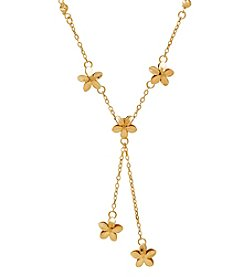 Floral Lariat Necklace In 14K Yellow Gold