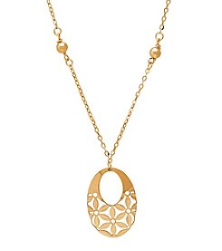 Floral Oval Pendant In 14K Yellow Gold