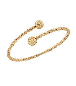 Cross Over Bead Cuff Bracelet In 14K Yellow Gold
