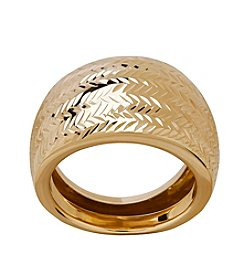 Chevron Cut Ring In 14K Yellow Gold