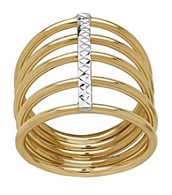5 Row Ring In 14K Yellow Gold