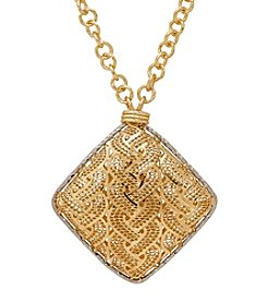 Diamond Shaped Pendant In 14K Yellow Gold