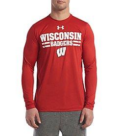 Under Armour® NCAA® Wisconsin Badgers Men's Big Logo Tech Long Sleeve Tee