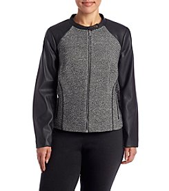 Calvin Klein Plus Size Marled Zip Front Jacket
