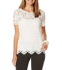 Rafaella® Scallop Edged Lace Top