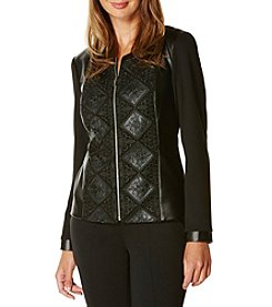 Rafaella® Lace Overlay Faux Leather Jacket