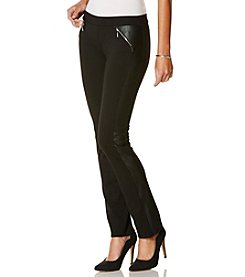 Rafaella® Faux Leather Panel Ponte Pants