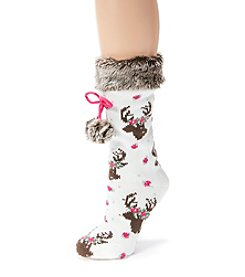 MUK LUKS Women's One-Pair Patterned Faux Fur Cuffed Socks with Poms