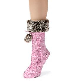 MUK LUKS Women's One-Pair Solid Faux Fur Cuffed Socks with Poms