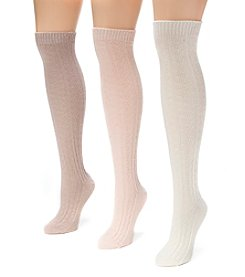 MUK LUKS Women's 3 Pair Pack Cable Knee High Socks