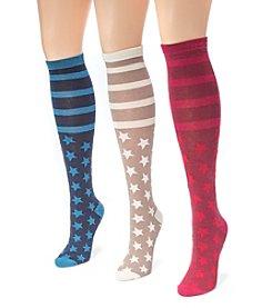 MUK LUKS Women's 3 Pair Pack Jacquard Knee High Socks