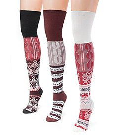 MUK LUKS Women's 3 Pair Pack Lodge Over the Knee Socks