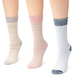 MUK LUKS Women's 3 Pair Pack Microfiber Boots Socks