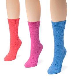 MUK LUKS Women's 3 Pair Pack Pointelle Boot Socks