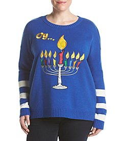 Love Always Plus Size Menorah Pullover Sweater