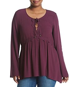 Eyeshadow® Plus Size Peasant Lace Top