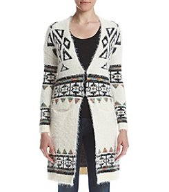 Sequin Hearts Border Print Cardigan