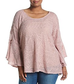 Jessica Simpson Plus Size Bell Sleeve Peasant Top
