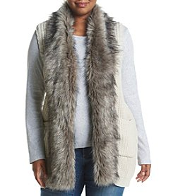Jessica Simpson Plus SIze Faux Fur Trim Sweater Vest