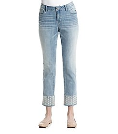 Ruff Hewn Embroidered Hem Cropped Jeans