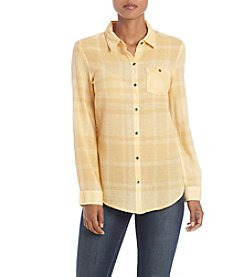 Ruff Hewn Belmar Plaid Gauze Boyfriend Top