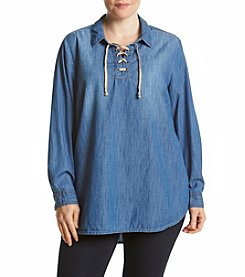 Ruff Hewn Plus Size Lace Up Chambray Top