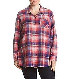 Ruff Hewn Plus Size Plaid Gauze Boyfriend Top