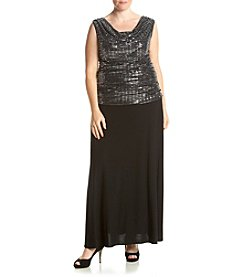 R&M Richards® Plus Size Sequin Body Long Dress