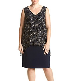 S.L. Fashions Plus Size Mesh Popover Dress