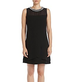 S.L. Fashions Pearl Collar Shift Dress