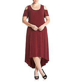 Relativity® Plus Size Cold Shoulder High Low Maxi Dress
