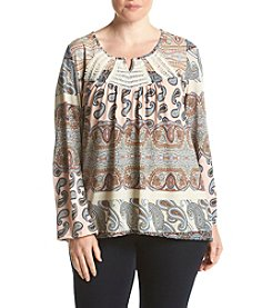 Oneworld® Plus Size Mixed Print Crochet Top