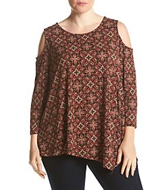 Rafaella® Plus Size Medallion Print Cold Shoulder Top