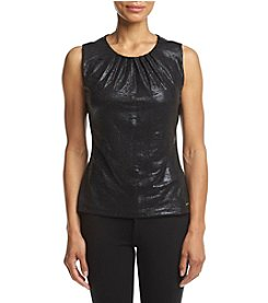 Calvin Klein Petites' Metallic Print Pleat Neck Cami