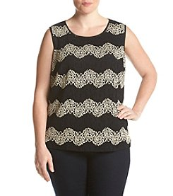 Kasper® Plus Size Striped Lace Tank
