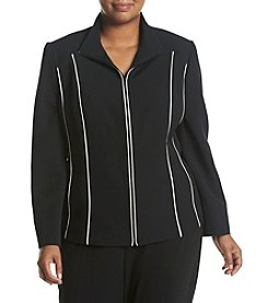 Kasper® Plus Size Zip Front Jacket With Piping