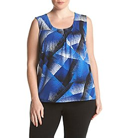 Kasper® Plus Size Brustroke Print Pleat Neck Top