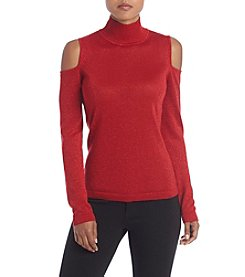 August Silk® Mock Neck Cold Shoulder Sweater