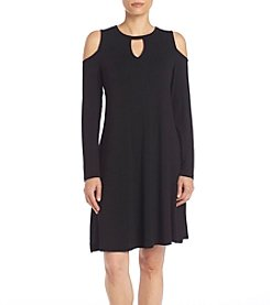 Bobeau® Solid Cold Shoulder Dress