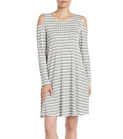 Bobeau® Stripe Ribbed Cold Shoulder Dress