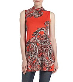 Cupio Printed Mockneck Tunic Top