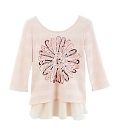 Beautees Girls' 7-16 Sequin Flower Tee