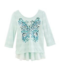 Beautees Girls' 7-16 Sequin Butterfly Tee