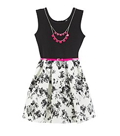 Beautees Girls' 7-16 Belted Floral Fit and Flare Dress