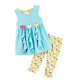 Nannette® Girls' 2T-6X 2-Piece Heart Ribbon Top And Leggings Set