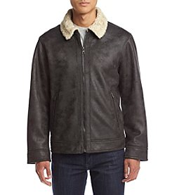Nautica® Men's Distressed Faux Shearling Jacket With Faux Fur Lining