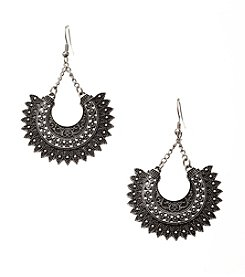 Ruff Hewn Silvertone Crescent Earrings